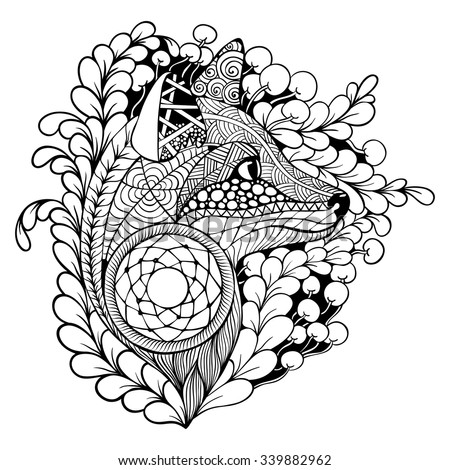 black and white dream catchers coloring pages | Fox With Dreamcatcher. Black And White. Coloring. Tattoo ...