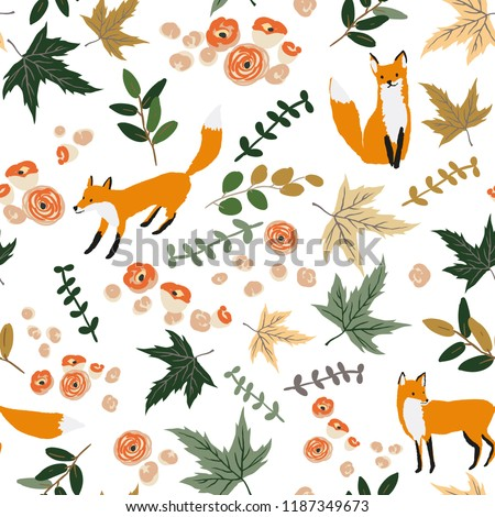 Foxes and autumn orange maple leaves, flowers, white background. Vector seamless pattern. Floral illustration. Nature design. Thanksgiving day. Fall season with cute forest animal