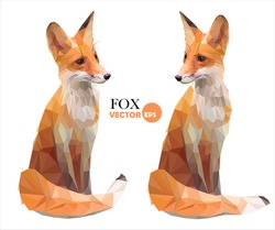 Foxes. Set of two pictures of a cute red Fox cartoon in various poses, vector red Fox in polygonal style and foxes made in low poly style.