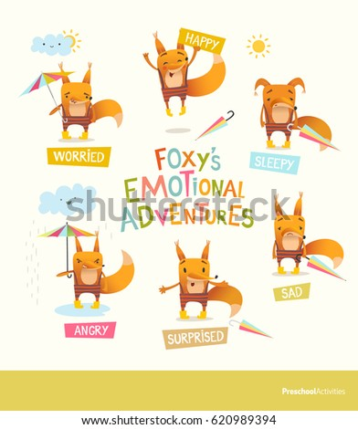 Foxy's emotional adventures. Cute cartoon fox in stripe pants expressing different feelings. Handling positive and negative emotions concept. Vector illustration for educational banner, postcard