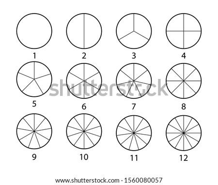 Fraction mathematics. Circle segments set. Black thin outline graphics.
