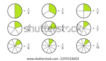 Fraction pie divided into slices. Fractions for website presentation cover poster Vector flat outline icon  isolated on white background.illustration  Foto d'archivio ©