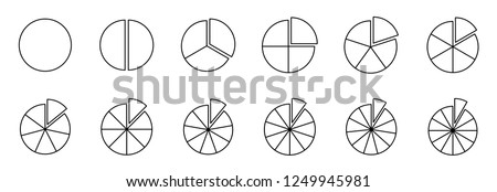 Fraction pie divided into slices. Fractions. Fraction Pies. Vector flat outline icon illustration isolated on white background. Photo stock ©