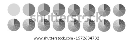 Fraction. Segmented circles set isolated on a white background.Big set, of wheel diagrams. Various number of sectors divide the circle on equal parts