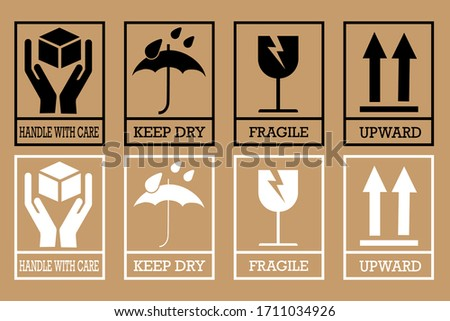 Fragile box, cargo warning vector signs. Set of fragile package icons, handle with care logistics and delivery labels. Vector illustration