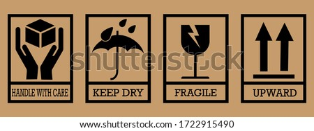 Fragile box, cargo warning vector signs. Set of fragile package icons, handle with care logistics and delivery labels. Vector illustration Stock foto ©