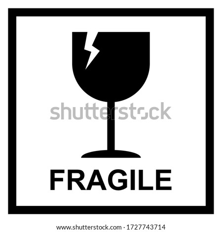 Fragile flat icon with crack and black frame isolated on white background. Fragile package symbol. Label vector illustration Stock foto ©