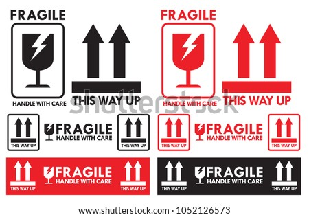 Fragile Handle with Care and this way up symbol for package shipping vector eps 10