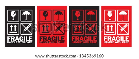 Fragile Handle with Care Sticker Design, Vector EPS 10. #1345369160