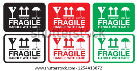 Fragile Handle with Care Sticker, Label or Hang Tag for Transportation, Vector EPS 10.