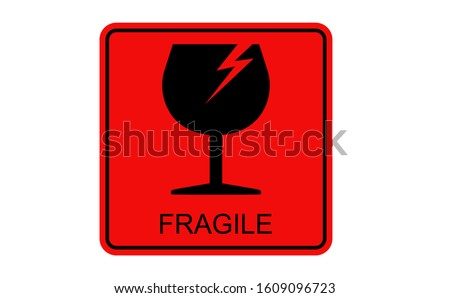 FRAGILE icon using black glass images. Background of the Fragile symbol using red colour. There is FRAGILE letter in the bottom of glass icon. This fragile icon also equipped with with lightning.