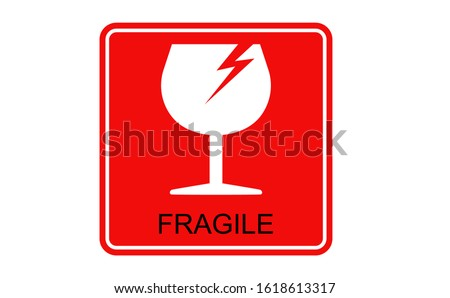 FRAGILE icon using white glass images. Background of the Fragile symbol using red colour. There is FRAGILE letter in the bottom of glass icon. This fragile icon also equipped with with lightning.