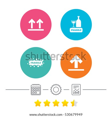 Fragile icons. Delicate package delivery signs. This side up arrows symbol. Calendar, cogwheel and report linear icons. Star vote ranking. Vector