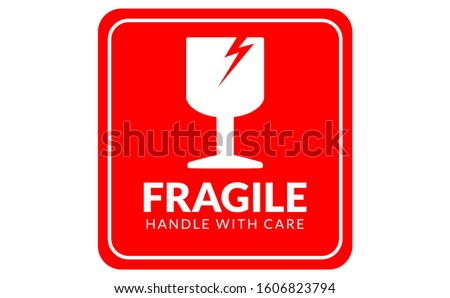 Fragile logo handle with care icon can used for carton FRAGILE mark icon, box signs, shipping mark, package markings, stamp fragile label icons. Fragile set contain icon and red box.