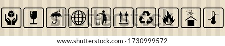 FRAGILE MARK label, box signs, shipping mark, package markings, stamp fragile label. FRAGILE set contain this way up icon, keep dry icon. Fragile box, cargo warning signs. illustration Stock foto ©