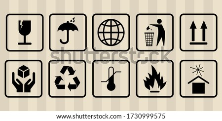FRAGILE MARK label, box signs, shipping mark, package markings, stamp fragile label. FRAGILE set contain this way up icon, keep dry icon. Fragile box, cargo warning signs. illustration