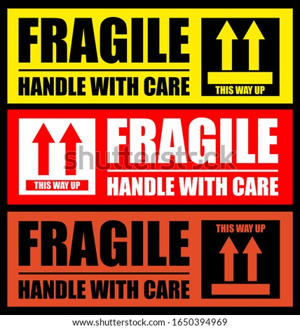 Fragile or Package Label stickers set. (Fragile, Handle with Care, This Way Up). Standard color sets. EPS 10 vectors.