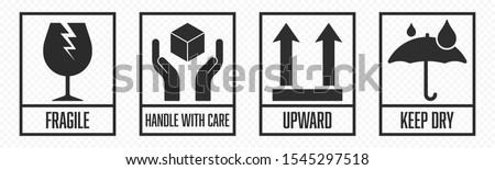 Fragile package icons set, handle with care logistics and delivery shipping labels. Fragile box, keep dry umbrella, cargo warning vector signs Stock foto ©