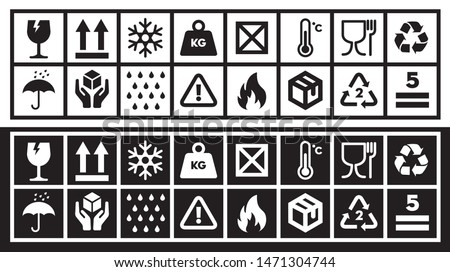 Fragile Packing and Shipping Symbol Collection. Cardboard Box Logistics  Cargo Transportation warning Icon set.  Stock foto ©