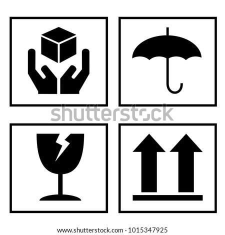 Fragile symbol on cardboard vector