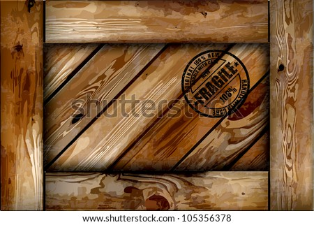 Fragile wooden box with stamp. Vector background
