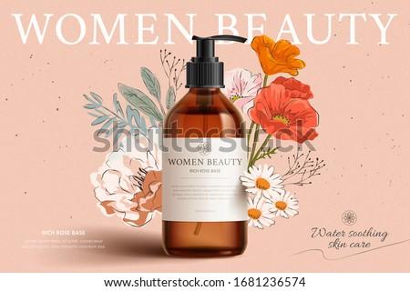 Fragrant cleansing product mock-up on elegant floral hand-drawn background, 3d illustration