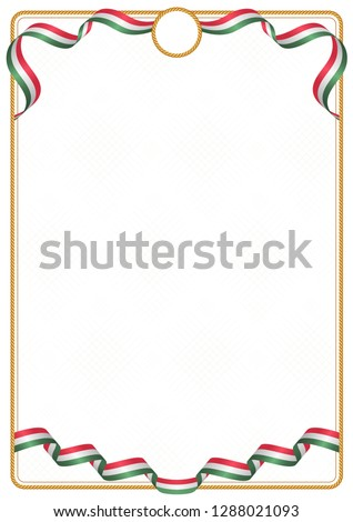 Frame and border of ribbon with the colors of the Hungary flag, template elements for your certificate and diploma