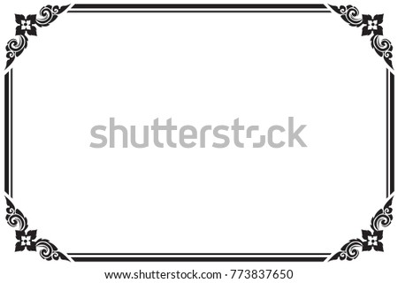 Frame and borders black and white. Thai pattern , Vector ...