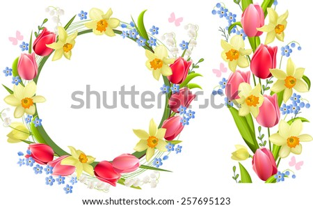 Frame and seamless border with spring flowers - tulips and daffodils