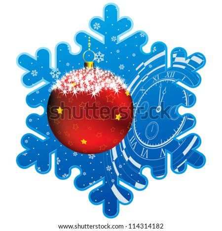 frame as snowflake with christmas decor, fir branch and snowflakes background