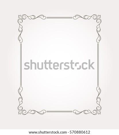 Frame border. Decorative design element and fancy page ornament. Vector illustration #570880612