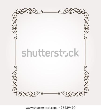 Frame border. Fancy page decoration. Vector illustration #476439490