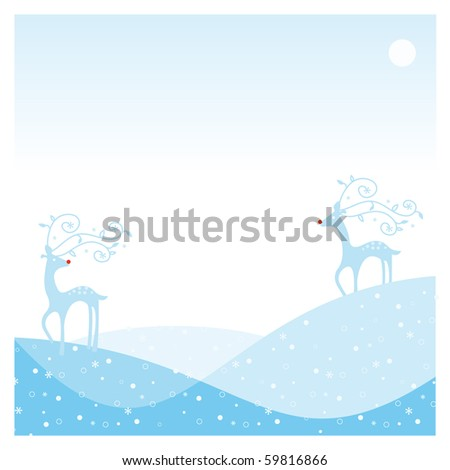 frame card with two reindeer with the snow and moon landscape