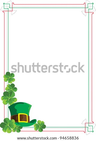 Frame color Irish flag with the leaves of clover and hat