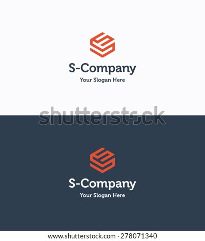 Frame cube 3D logo company template with letter S