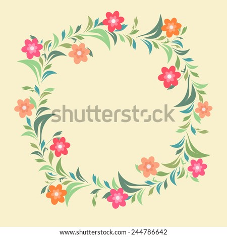 Frame decorated by small colorful flowers and leaves with space for your message.