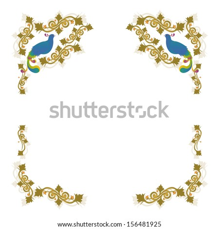 Frame decorative with leafs, flowers and pheasants by BibiDesign