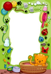 Frame Design Featuring a Cat and her supplies - Vector