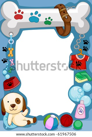 Frame Design Featuring a Dog and Other Random Doodles - Vector