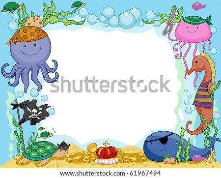 Frame Design Featuring Pirate Animals Underwater - Vector