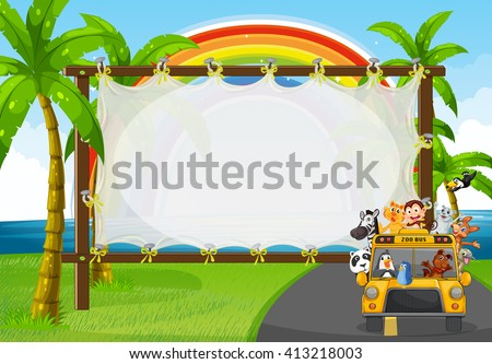 Frame design with animals on zoo bus illustration