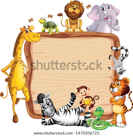 Frame design with many animals around border illustration