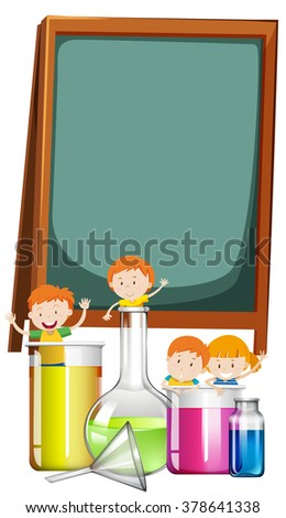 Frame design with students and science theme illustration