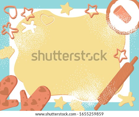 Frame dough cookies, great design for any purposes. Sweet traditional bake. Baking background. Christmas baking. Food ingredients, cooking, food preparation concept. Flat vector illustration.