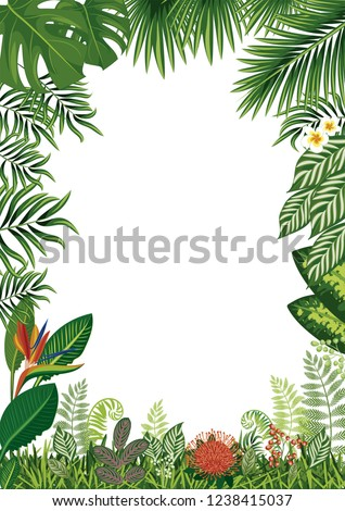 Frame. Exotic herbs isolated on white. Border. Tropical card. Exotic background with leaves and flowers. Vector illustration. #1238415037