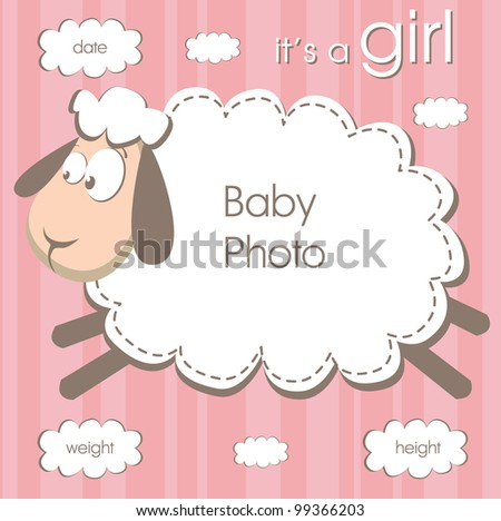 frame for a newborn girl with a place for photo on a stripped background. vector