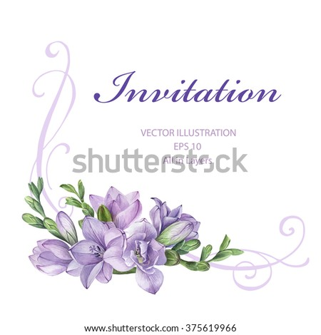 Frame for wedding invitation with purple freesia flowers. Hand painted watercolor