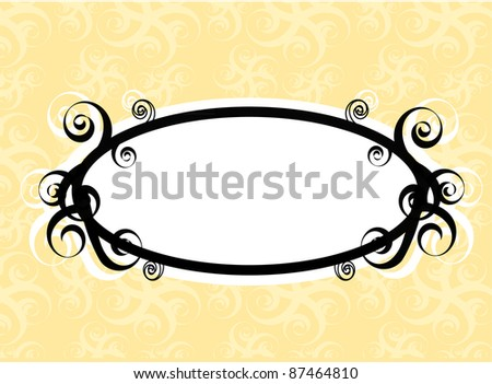Frame formed by oval label with black swirls on the yellow background with seamless swirl ornaments