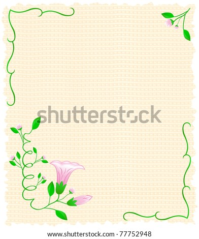 Frame from a sheet of papyrus flourishes and blossoming flower bell