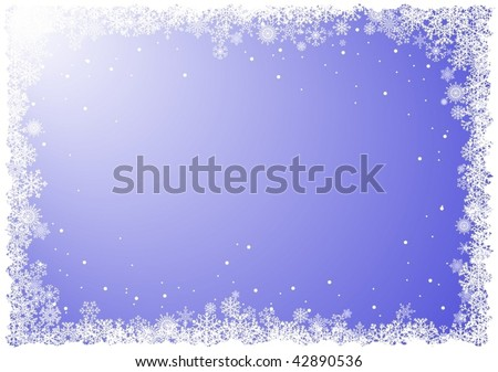 Frame from snowflakes on blue background - vector